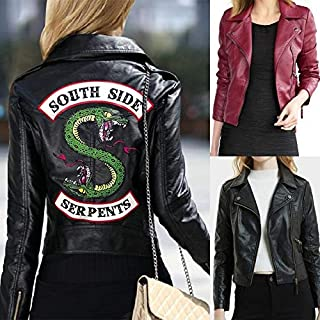 maledery Women Leather Jackets Winter Slim Motorcycle Bomber Jacket Coats Southside Serpents Printed Black Wine Red(S,Red)