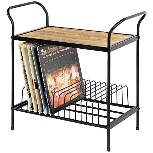 MyGift 2-Tier Rustic Brown Wood & Black Metal Turntable Stand with 14 Slot Vinyl Record Storage Holder