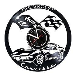 EUREKAshop Chevrolet Corvette Vinyl Record Wall Clock - Best Gift for Boss Dad Mom Boy Girl Kovides Vinyl Wall Clock Home Decoration Room Inspirational, Vinyl Wall Clock Silent Wall Art (5)