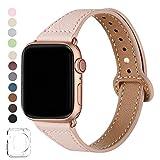 SUNFWR Compatible Bracelet Apple Watch 40mm Cuir,38mm 42mm 44mm en Cuir Véritable Bracelet Watch...
