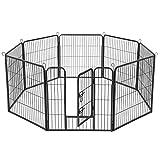 FEANDREA Enclos pour Chien, Parc pour Animaux de Compagnie, 8 Panneaux, Dimensions 77 x 80 cm, Gris PPK88G