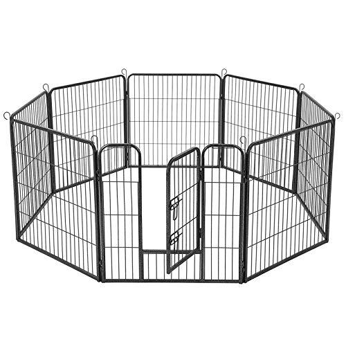 FEANDREA Welpenauslauf Welpenlaufstall Tierlaufstall Freilaufgehege Hundelaufstall Welpenzaun Absperrgitter für Hunde Kaninchen kleine Haustiere 8-Eck grau 77 x 80 cm PPK88G