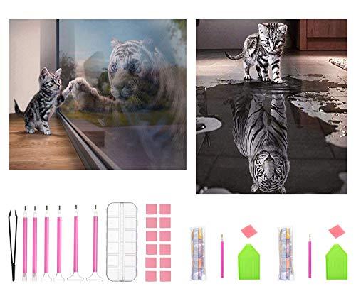 APERIL 5D Diamond Painting Full Set, Diamant Painting Kinder Kreuzstich Set Katze & Tiger DIY Malen Nach Zahlen Erwachsene, Diamant Malerei für Haus, Wand und Eingang Dekorationen