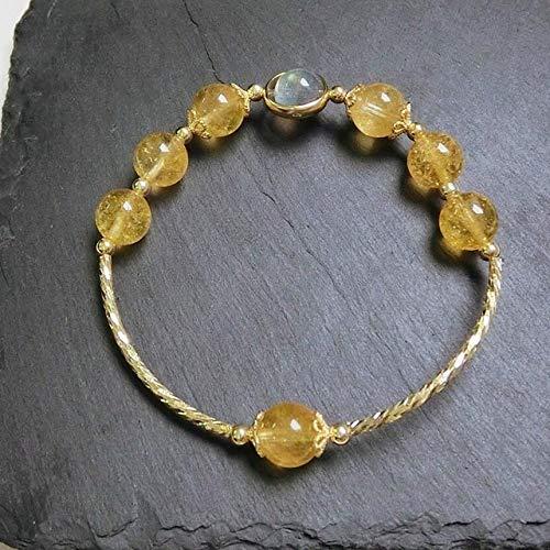 14 Karat Gold 100% Naturstein Citrin Perlen Armband Armreifen Real 925 Sterling Silber Armbänder Für Frauen Edler Schmuck