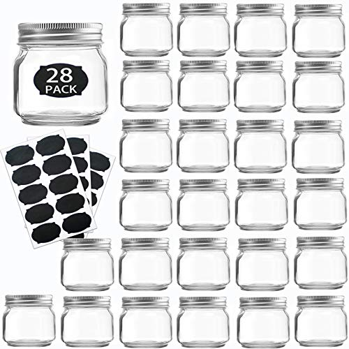 Mason JarsGlass Jars With Lids 8 ozCanning Jars For Pickles And Kitchen StorageRegular Mouth Spice Jars With Silver Lids For HoneyCaviarHerbJellyJamsSet of 28
