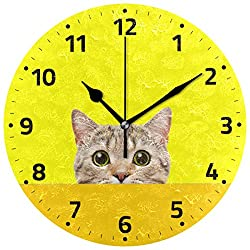 Wamika Vintage Cute Animal Cat Wall Clock Lovely Cartoon Round Clock Silent Non Ticking Decorative 9.5 Inch Battery Operated Quartz Analog Quiet Desk Clock for Home,Office,School
