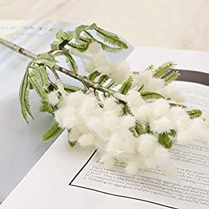 BHJD 38cm Fake Acacia Artificial Flowers Yellow Mimosa Spray Cherry Fruit Branch Wedding Home Table Decoration Flower(White)