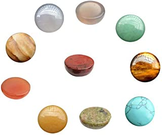 Assorted Crystal and Gemstone 10mm Half Round Cabochons Beads in Bulk Supplies Sold by 18 Pcs (Random Color No Hole)
