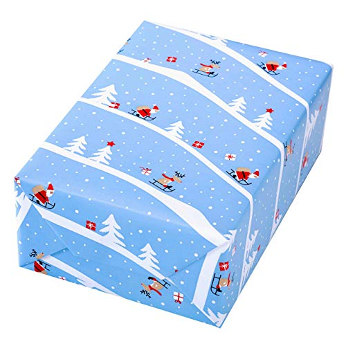 Cadeaupapier rol 50 cm x 50 m, motief Alpina, grappige slee op mat papier. Voor Kerstmis, kinderen, verjaardag. Kerstcadeaupapier