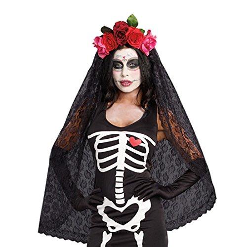 Dreamgirl Women's Dia de los Muertos Sugar Skull Costume Headpiece