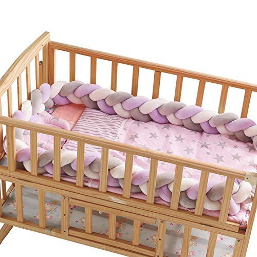 WSYW Protector de cuna trenzado de 400 cm de largo para bebé, almohada de felpa anudada alrededor del cojín de protección para recién nacidos, bebés, niños, cama, parachoques, estilo 5
