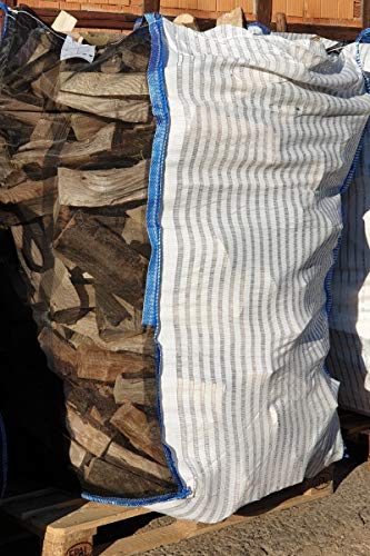 10 x Hochwertiger Holz Big Bag mit Auslaufboden/Sternenboden speziell für Brennholz * Woodbag, Holzbag, Brennholzsack * 100x100x160cm * Netzgittergewebe * Holz trocknen + transportieren