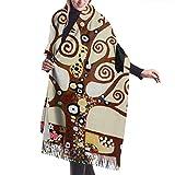 Lsjuee - Bufanda de cachemir con estampado de árbol de la vida para mujer, bufanda cálida informal para mujer, chal grande