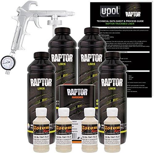 U-POL Raptor Shoreline Beige Urethane Spray-On Truck Bed Liner Kit W/Free Spray Gun, 4 Liters