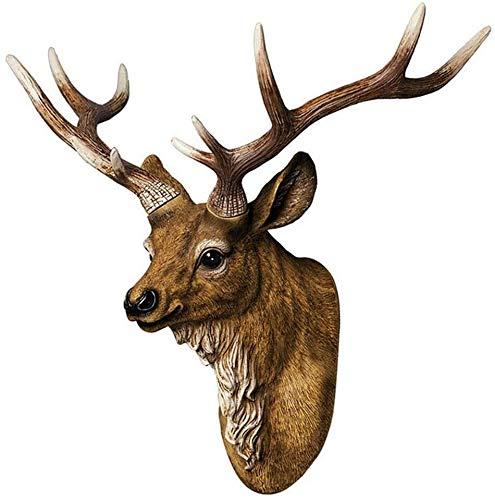 Retro Faux Stag Montaje En La Pared Estatua Escultura Hogar Decoración Artesanía Ornamentos Estatuilla Muebles Mule Deer Simulated Resin Taxidermy Animal Cabeza Adorno Falso Deer Cabeza Escultura Deco