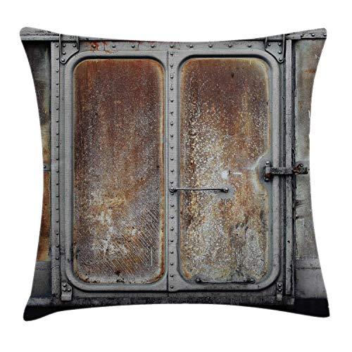 Industrial Throw Pillow Cushion Cover, Vintage Railway Container Door Old Locomotive Transportation Iron Power Design, Decorative Square Accent Pillow Case 18inch*18inch