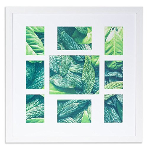 VISTA Collage Flat Picture Photo Frame for Family 26 ×26 inches Frame, Manu Collection, 9 Openings w Wide Mat: (6) 4 x 6, (2) 5 x 7, (1) 8 x 10 inches, Soft White