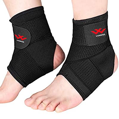 Ankle Brace, 2PCS Breathable & Strong Ankle Support for Sprained Ankle, Stabiling Ligaments, Prevent Re-Injury, Compression Ankle Support Brace with Adjustable Wrap (S)