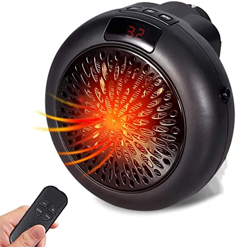 RENXR Riscaldatori Plug-in da 900 W, Termoventilatore Elettrico con Telecomando Portatile/Protezione da Surriscaldamento per Casa/Ufficio