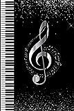 Notizbuch Notenschlüssel: Blanko Journal zum Selberschreiben für Musiker, Musiklehrer, Edel und Elegant in Schwarz und Silber
