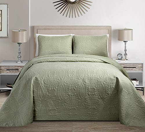 MK Home Mk Collection Solid Embossed Bedspread Bed Cover Over Size (Light Green, King/California King)