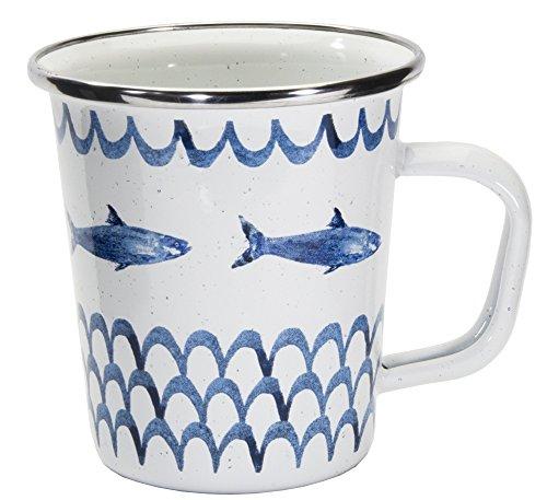 Enamelware – Patrón de campamento de peces – 16 oz taza de café