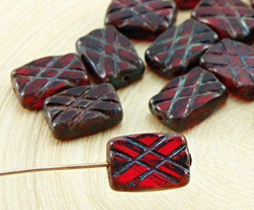 6pcs Picasso Brun Cristal Rouge Rubis de taille de Table de la Fenêtre à Carreaux Damier Rectangle Plat, Verre tchèque Perles de 8mm x 12mm