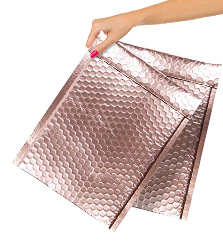ABC Pack of 10 Rose Gold Bubble Mailers 9.5 x 13.5. Rose Gold Metallic Poly Mailers 9 1/2 x 13 1/2. Peel and Seal Padded Envelopes. Shipping Bags for Mailing, Packing, Packaging. Wholesale Price