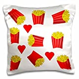 3dRose pc_233688_1, 'Image of Boxes Of French Fries Repeat Pattern' Printed, Satin, Envelope closure type, Square pillow case, 16 x 16 inches, White