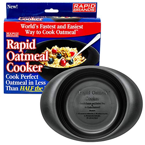 Rapid Oatmeal Cooker | Microwave Instant or Old-Fashioned Oats in 2 Minutes | Perfect for Dorm, Small Kitchen, or Office | Dishwasher-Safe, Microwaveable, BPA-Free - Black (1 pack)