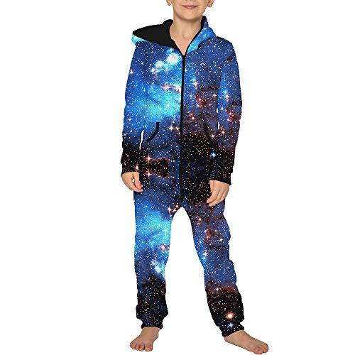 Jumpsuit Jogger für die Ganze Familie, Morbuy Unisex Junge Mädchen Kapuzenpullover Strampelanzug 3D Sternenklarer Himmel Printed Onepiece Sweatshirt Strampler Nachtwäsche (L(145-150cm),Blau)
