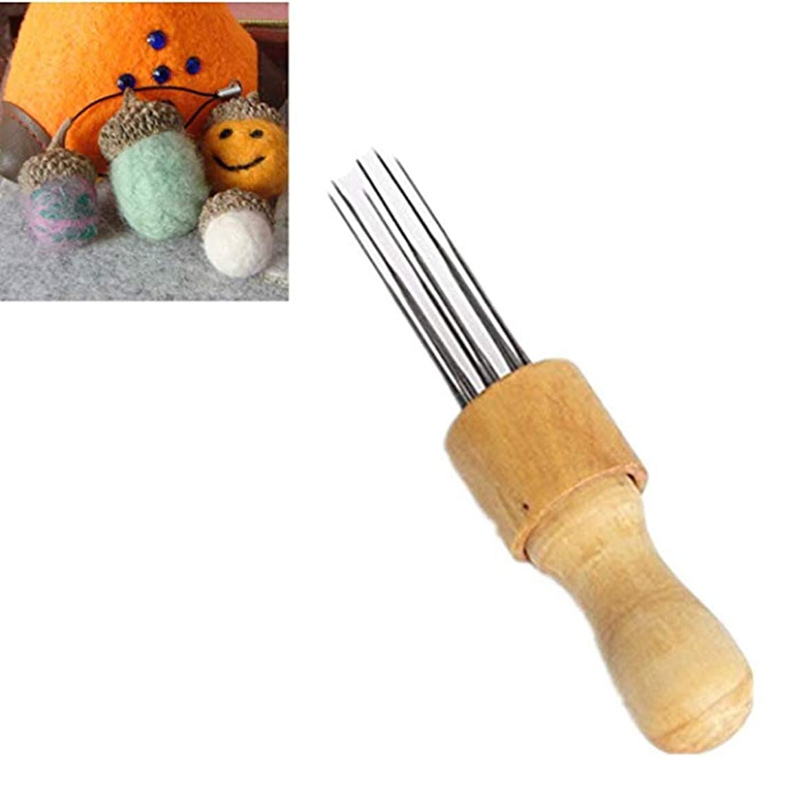 DW Needle Felting with Solid Wood Handle Clover Felt Stitch Punch Tool