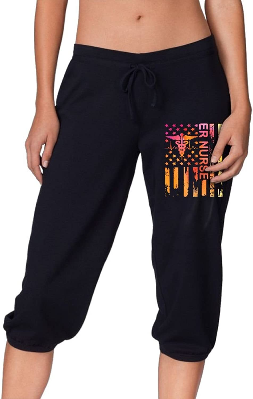 Pantsing ER Nurse Nurse Gifts Women's Fit Active French Terry Capri Pants