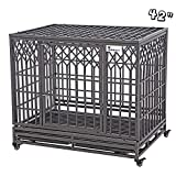 SMONTER 42' Heavy Duty Dog Crate Strong Metal Pet Kennel Playpen with Two Prevent Escape Lock, Large Dogs Cage with Wheels, Y Shape, Dark Silver … …