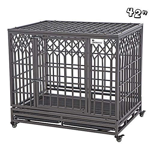 "SMONTER 42"" Heavy Duty Dog Crate Strong Metal Pet Kennel Playpen with Two Prevent Escape Lock, Large Dogs Cage with Wheels, Y Shape, Dark Silver … …"