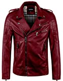 Best Leather Jackets For Men - chouyatou Men's Vintage Asymmetric Zip Lightweight Faux Leather Review