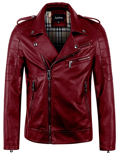 chouyatou Men's Vintage Asymmetric Zip Lightweight Faux Leather Biker Jacket (Large, Wine Red)