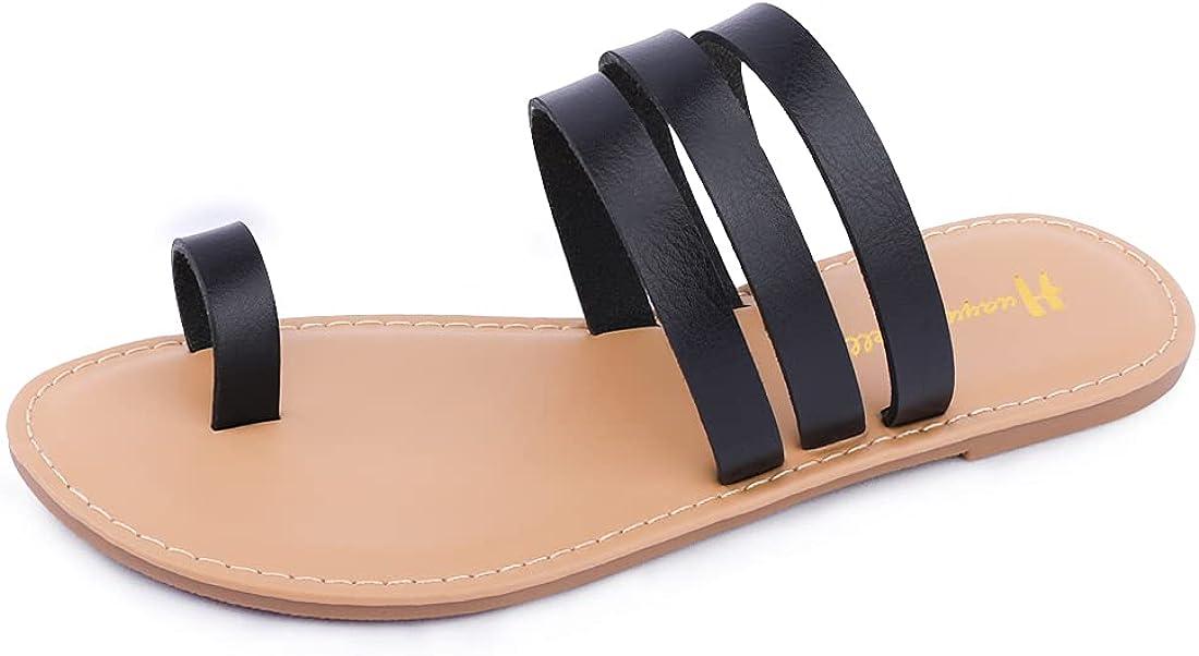 Women's Strappy Slides Flat Sandals Strappy Slides Sandals Open