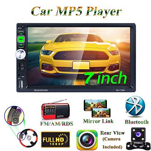 Honboom 2 DIN Radio Coche Bluetooth Car Stereo con Pantalla Táctil HD de 7 Pulgadas Soporta Llamadas Manos Libres/Mirror Link/FM/RDS/USB/TF/AUX (Cámara de Visión Trasera Incluida)
