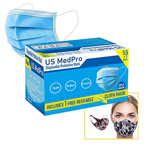 1 Reusable + 55 Pack Disposable Face Mask Office Industrial 3-Ply Layer Filter System with Earloops Outdoor Facial Protection (Packed in 11 Individual Packs of 5)…