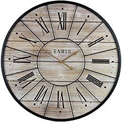 "Sorbus Paris Oversized Wall Clock, Centurion Roman Numeral Hands, Parisian French Country Rustic Large Decorative Modern Farmhouse Decor Ideal for Living Room, Analog Wood Metal Clock, 24"" Round"
