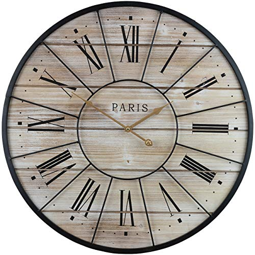 """Sorbus Paris Oversized Wall Clock, Centurion Roman Numeral Hands, Parisian French Country Rustic Large Decorative Modern Farmhouse Decor Ideal for Living Room, Analog Wood Metal Clock, 24"""" Round"""