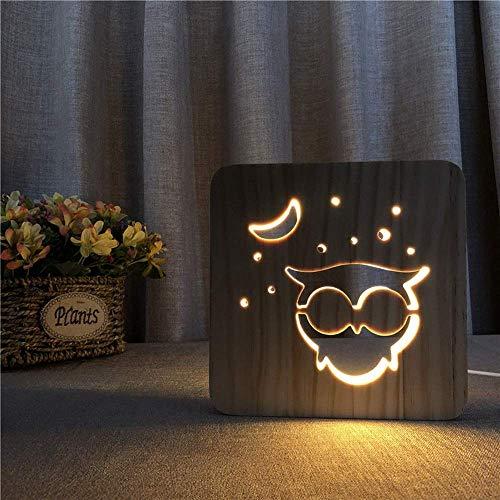 Viewsys Decorativo creativo LED lámpara de mesa de madera luz de la noche de dibujos animados 3D Owl Hollow USB dormitorio del sitio de niños de cumpleaños de 19 * 19 cm de escritorio simple romántica
