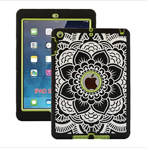 WLWLEO para iPad5 / Air, iPad6 / Air2, iPad 9.7 2017/2018 Funda, Cubierta de PC Delgada a Prueba de Golpes Funda Protectora Resistente de Silicona Suave para iPad2 / 3/4,Verde,iPad2/3/4
