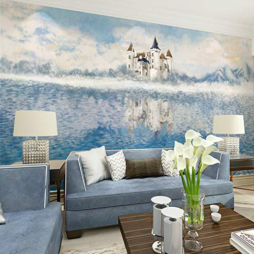 WSKBH Wandbildtapete,Individuelle Anpassung 3D Wandbild Schloss Das Meer Abstrakte Mediterrane Landschaft Hintergrund Tapete Wohnzimmer Home Decor Großen Fresko,110 cm (H) X 190 cm (W)
