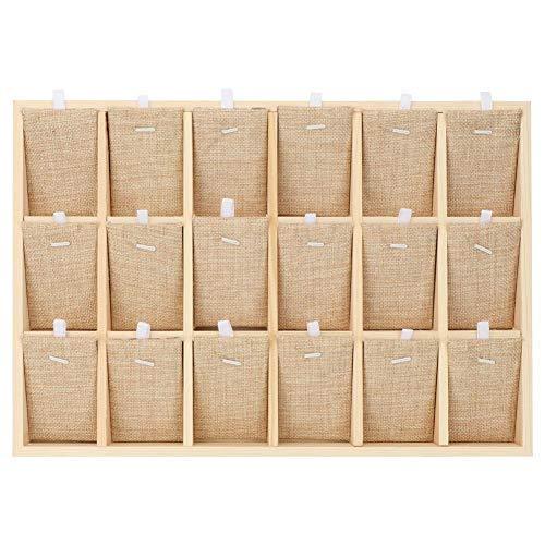 Espositore per gioielli, scatola portaoggetti in legno, multifunzione, per vetrina e collana, 18 scomparti