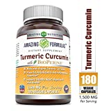 Amazing Formulas Turmeric Curcumin with Bioperine 1500 MG 180 Vegetarian Capsules from Amazing Nutrition
