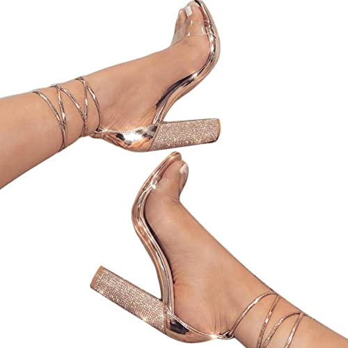 5ba46dddf39 LALA IKAI Women s Gold High Heels Sandals with Rhinestone Ankle Strappy  Clear Chunky Heels Dress Party