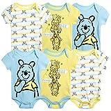 Disney Baby Boys 6 Pack Bodysuit –Mickey Mouse & Friends, Lion King, Winnie the Pooh Bear (Newborn/Infant), Size 3-6 Months, Pooh Bear