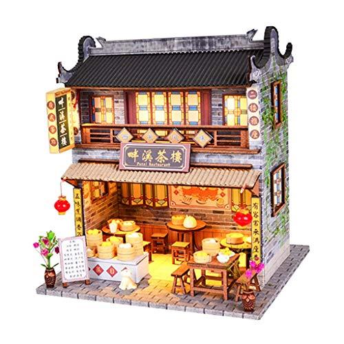 perfeclan Modello di Casa delle Bambole in Miniatura Fai da Te in Scala 1/24 di Antica Casa da tè Cinese con Luce